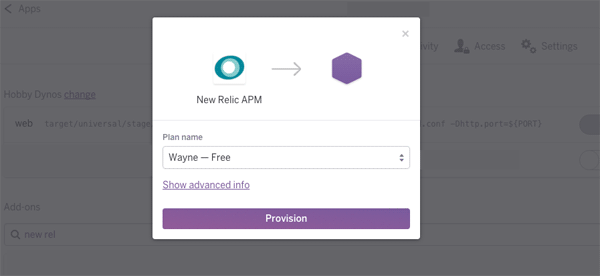 New Relic Installation Screen
